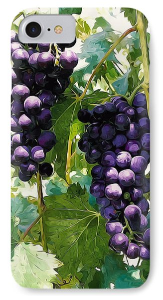 Clusters Of Red Wine Grapes Hanging On The Vine Phone Case by Lanjee Chee