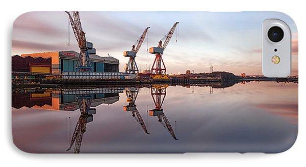 Clydeside Cranes Long Exposure Phone Case by John Farnan