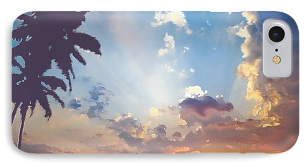 Coconut Trees In The Sunset Phone Case by Dominique Amendola