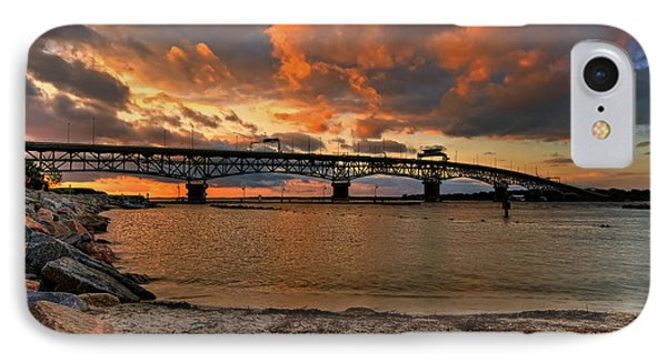 Coleman Bridge At Sunset IPhone Case by Jerry Gammon