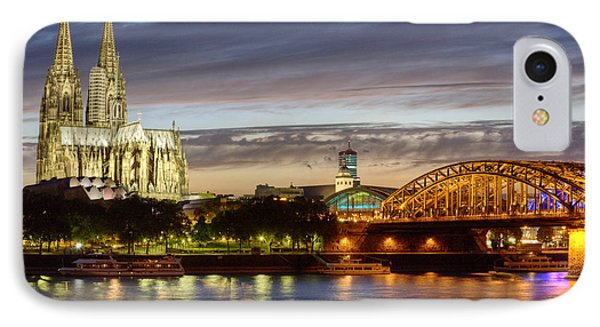 Cologne Cathedral With Rhine Riverside Phone Case by Heiko Koehrer-Wagner