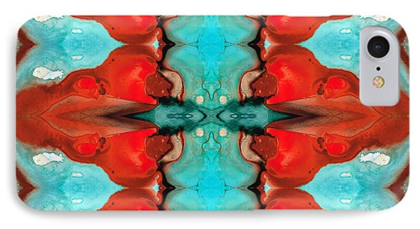 Color Chant - Red And Aqua Pattern Art By Sharon Cummings IPhone Case by Sharon Cummings