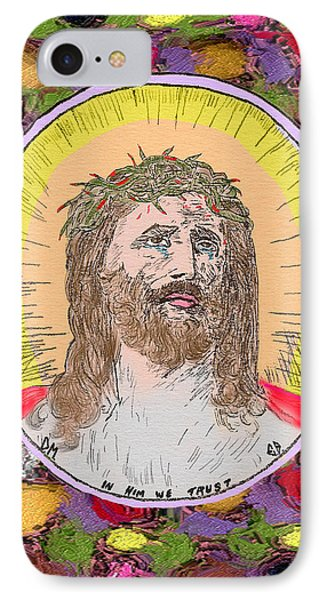 Colored Background Jesus Phone Case by Donna Munro