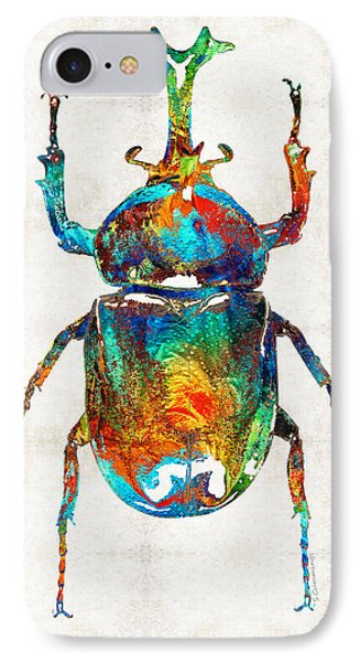 Colorful Beetle Art - Scarab Beauty - By Sharon Cummings IPhone 7 Case by Sharon Cummings