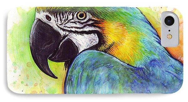 Macaw Watercolor IPhone Case by Olga Shvartsur