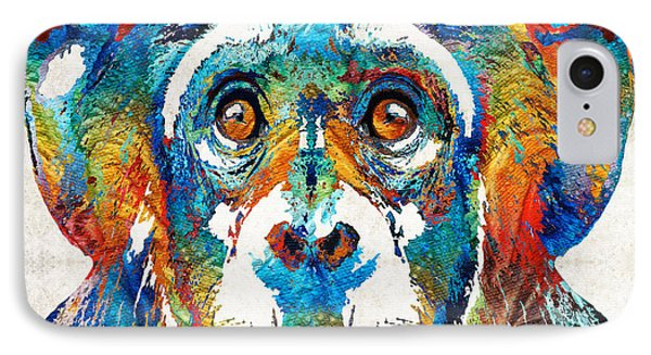 Colorful Chimp Art - Monkey Business - By Sharon Cummings IPhone 7 Case by Sharon Cummings