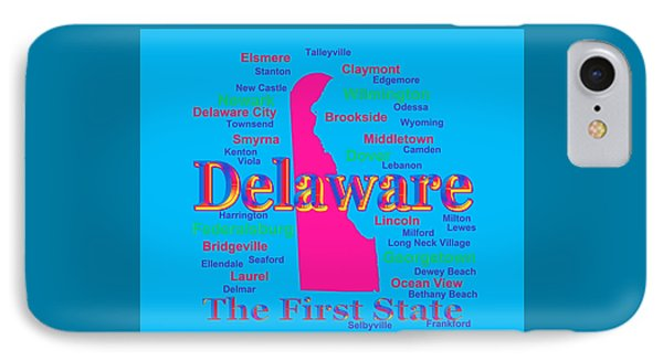 Colorful Delaware State Pride Map Silhouette  IPhone Case by Keith Webber Jr