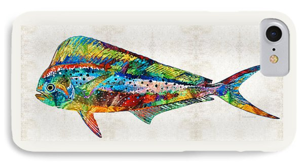 Colorful Dolphin Fish By Sharon Cummings IPhone Case by Sharon Cummings