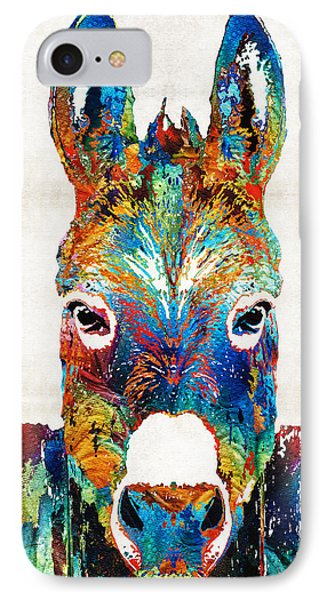 Colorful Donkey Art - Mr. Personality - By Sharon Cummings IPhone Case by Sharon Cummings