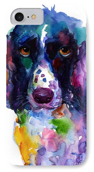 Colorful English Springer Setter Spaniel Dog Portrait Art IPhone 7 Case by Svetlana Novikova