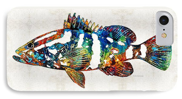 Colorful Grouper 2 Art Fish By Sharon Cummings IPhone Case by Sharon Cummings