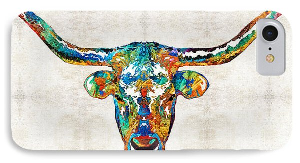 Colorful Longhorn Art By Sharon Cummings IPhone 7 Case by Sharon Cummings