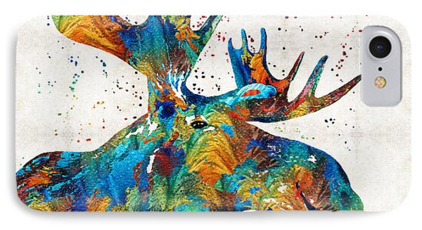 Colorful Moose Art - Confetti - By Sharon Cummings IPhone Case by Sharon Cummings
