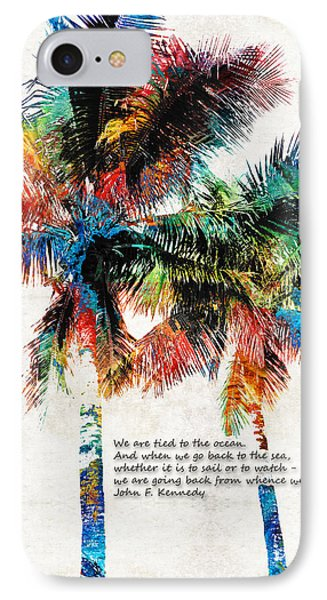 Colorful Palm Trees - Returning Home - By Sharon Cummings IPhone Case by Sharon Cummings