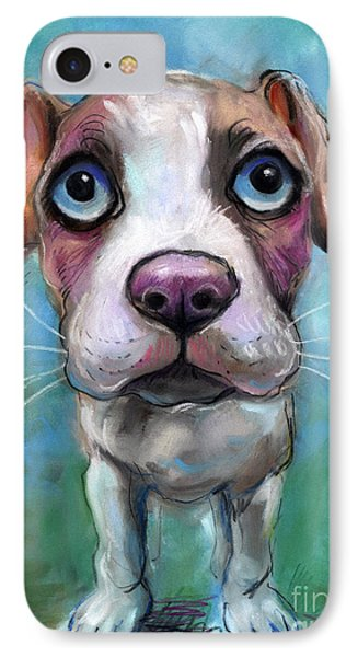Colorful Pit Bull Puppy With Blue Eyes Painting  IPhone Case by Svetlana Novikova