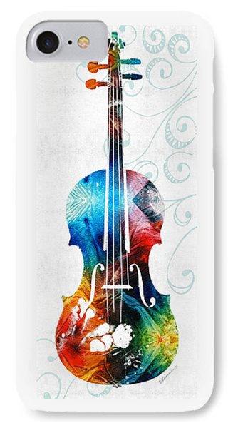 Colorful Violin Art By Sharon Cummings IPhone Case by Sharon Cummings