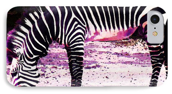Colorful Zebra 2 - Buy Black And White Stripes Art Phone Case by Sharon Cummings