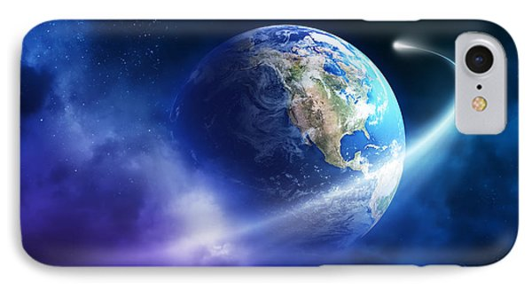 Comet Moving Passing Planet Earth Phone Case by Johan Swanepoel