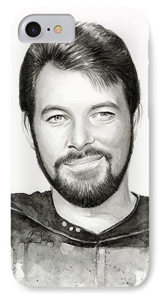 Commander William Riker Star Trek IPhone Case by Olga Shvartsur