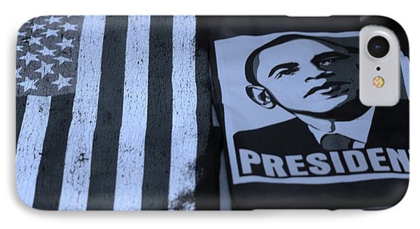 Commercialization Of The President Of The United States In Cyan IPhone Case by Rob Hans