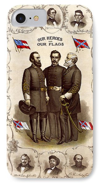 Confederate Generals And Flags IPhone Case by Daniel Hagerman