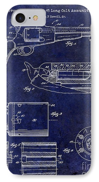Conversion Cylinder 45 Long Colt Ammunition Blue IPhone Case by Jon Neidert