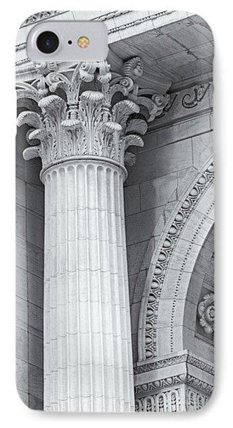 Corinthian Column Detail Bw IPhone Case by Susan Candelario