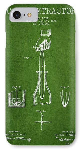 Cork Extractor Patent Drawing From 1878 -green IPhone Case by Aged Pixel