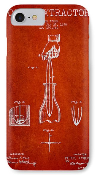 Cork Extractor Patent Drawing From 1878 - Red IPhone Case by Aged Pixel