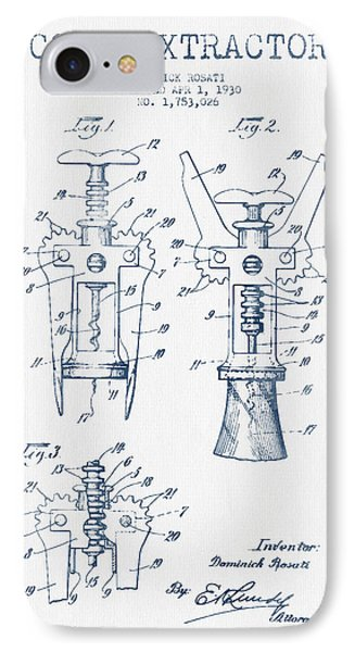 Cork Extractor Patent Drawing From 1930- Blue Ink IPhone Case by Aged Pixel