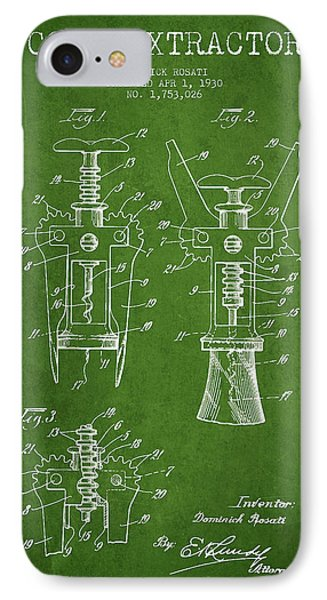 Cork Extractor Patent Drawing From 1930 - Green IPhone Case by Aged Pixel