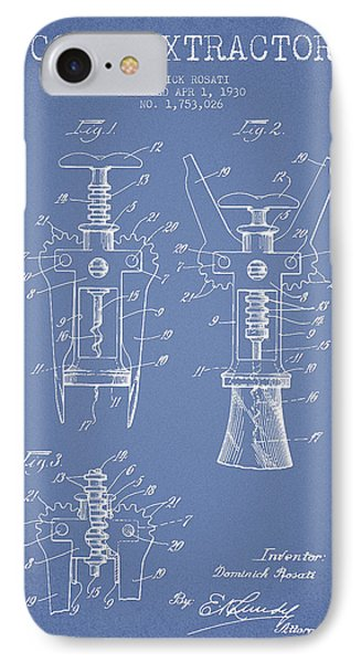 Cork Extractor Patent Drawing From 1930 - Light Blue IPhone Case by Aged Pixel