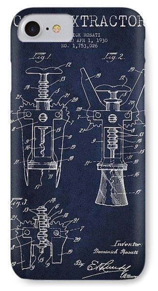 Cork Extractor Patent Drawing From 1930 - Navy Blue IPhone Case by Aged Pixel
