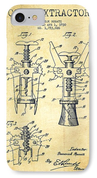 Cork Extractor Patent Drawing From 1930 - Vintage IPhone Case by Aged Pixel