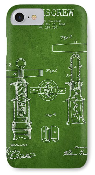 Corkscrew Patent Drawing From 1862 - Green IPhone Case by Aged Pixel