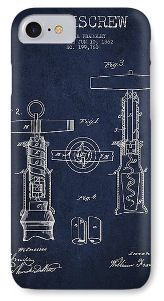 Corkscrew Patent Drawing From 1862 - Navy Blue IPhone Case by Aged Pixel