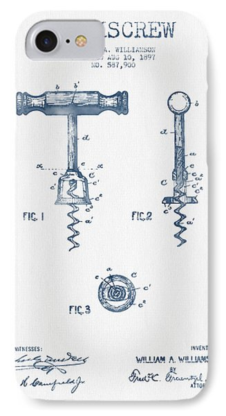 Corkscrew Patent Drawing From 1897 - Blue Ink IPhone Case by Aged Pixel