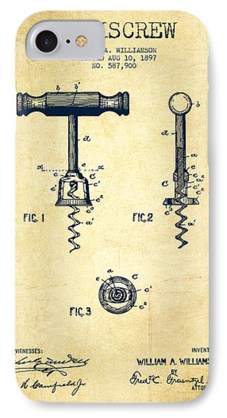 Corkscrew Patent Drawing From 1897 - Vintage IPhone Case by Aged Pixel