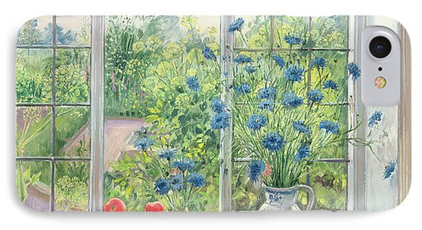 Cornflowers And Kitchen Garden IPhone Case by Timothy Easton