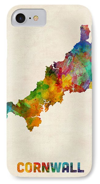 Cornwall England Watercolor Map IPhone Case by Michael Tompsett