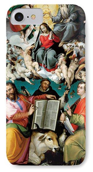 Coronation Of The Virgin With Saints Luke Dominic And John The Evangelist IPhone Case by Bartolomeo Passarotti
