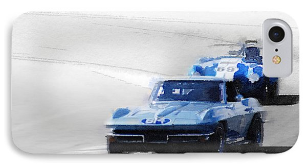 Corvette And Ac Cobra Shelby Watercolor IPhone Case by Naxart Studio