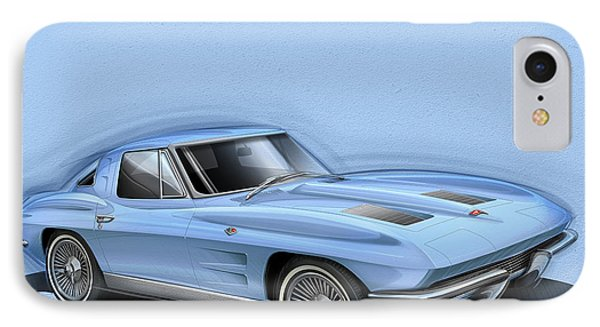 Corvette Sting Ray 1963 Light Blue IPhone Case by Etienne Carignan
