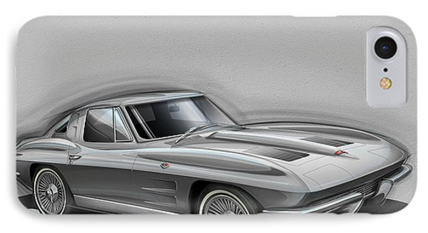 Corvette Sting Ray 1963 Silver IPhone Case by Etienne Carignan