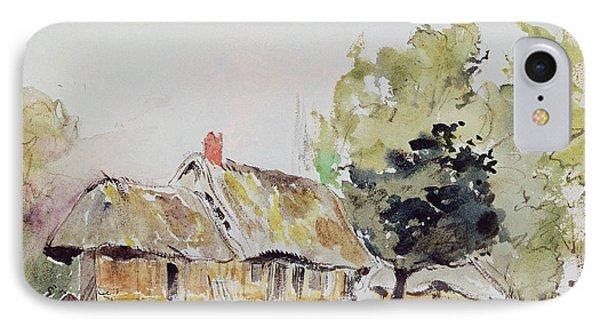 Cottage Under Large Trees In Summer IPhone Case by Ferdinand Victor Eugene Delacroix