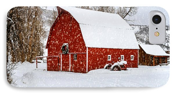 Country Holiday Barn Phone Case by Teri Virbickis