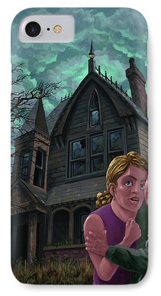 Couple Outside Haunted House IPhone Case by Martin Davey