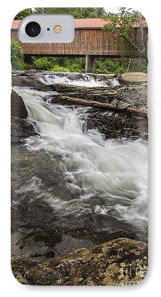 Covered Bridge And Waterfall IPhone Case by Edward Fielding