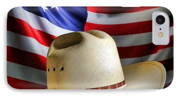 Cowboy Hat And American Flag IPhone Case by Olivier Le Queinec
