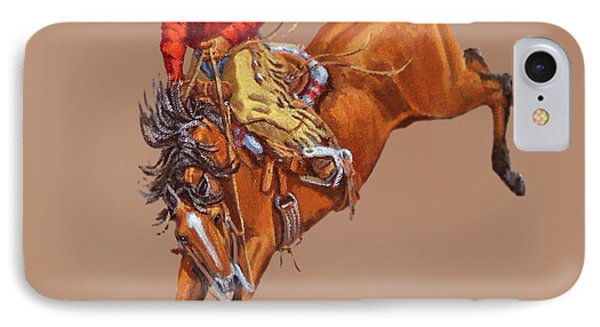 Cowboy On A Bucking Horse IPhone Case by Randy Follis